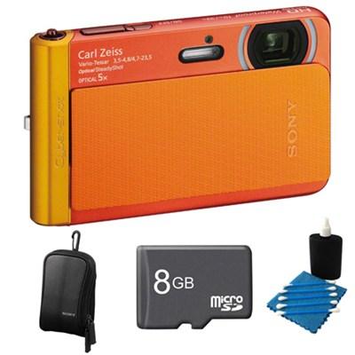 DSC-TX30/B Orange Digital Camera 8GB Bundle