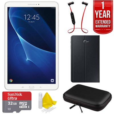 Galaxy Tab A 16GB 10.1-inch Tablet - White w/ Warranty + Accessories Bundle