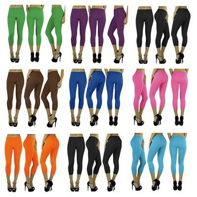 6-Pack Capri Yoga Legging One Size Green, Fuchsia, Pink, Grey,Turquoise, Orange
