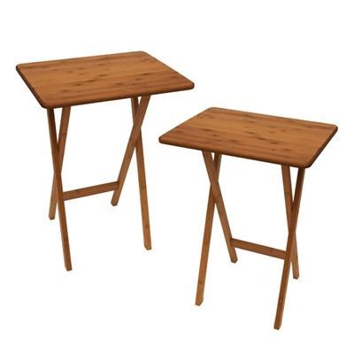 Set of 2 Snack Tbles Bamboo