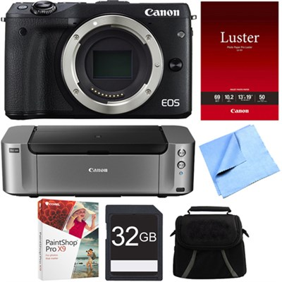 EOS M3 24.2MP Black Mirrorless Digital Camera Body PIXMA PRO-100 Printer Bundle