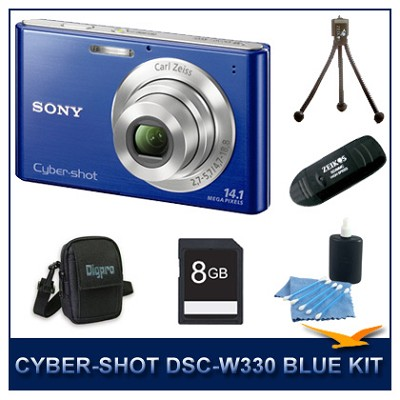 Cyber-shot DSC-W330 14MP Blue Digital Camera with 8GB Card, Case, and More