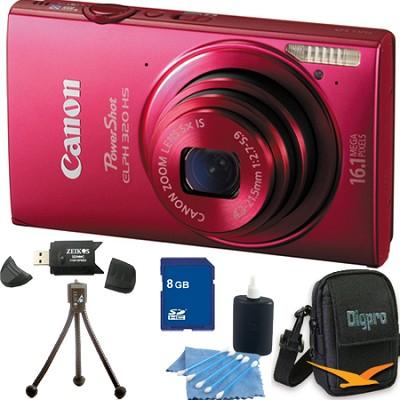 PowerShot ELPH 320 HS 16MP Red Digital Camera 8GB Bundle