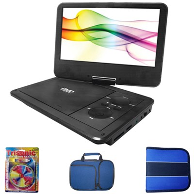 9` Port. DVD Player w/ 5 Hr Rechargeable Battery + Carrying Case Bundle