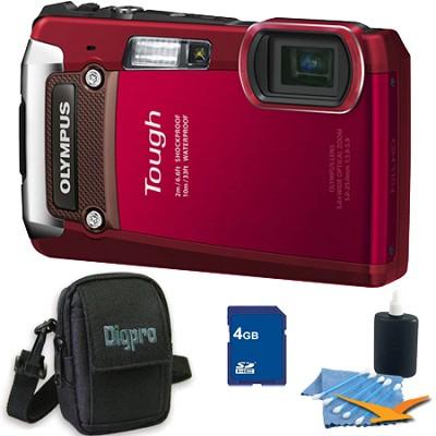 4GB Kit Tough TG-820 iHS 12MP Water/Shock/Freezeproof Digital Camera - Red
