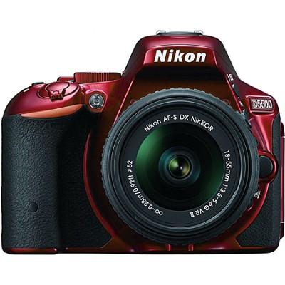 D5500 Red DX-format DSLR Camera with AF-S NIKKOR 18-55mm f/3.5-5.6G VR II Lens