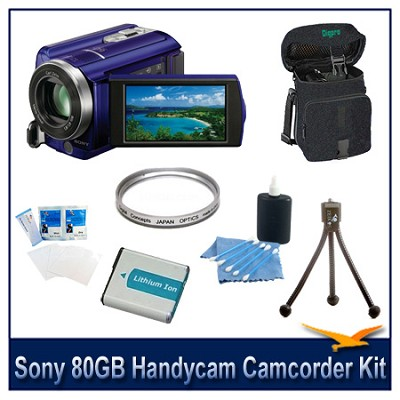 DCR-SR68 80GB Handycam Camcorder (Blue) with Spare Battery, Case and More