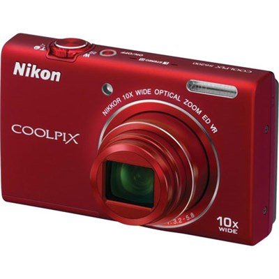 COOLPIX S6200 16MP Digital Camera 10x Optical Zoom (Red)(Certified Refurbished)