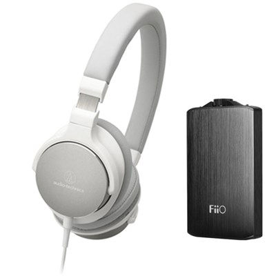 SR5 On-Ear High-Resolution Headphones w/ FiiO A3 Headphone Amplifier, White