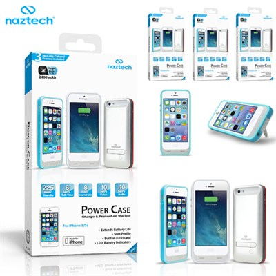 3-PACK - Apple Certified 2400mAh Kickstand Power Case iPhone 5/5s (White)