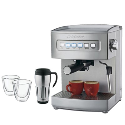 EM-200 Programmable 15-Bar Espresso Maker, Stainless Steel Fctry Refurb w/Bundle