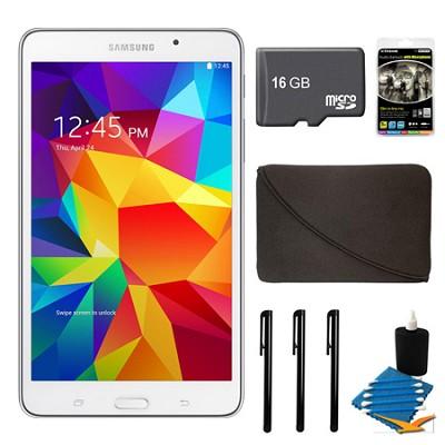 Galaxy Tab 4 White 8GB 7` Tablet, 16GB Card, and Case Bundle