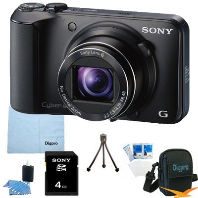 Cyber-shot DSC-H90 16.1 MP 16x Optical Zoom HD Video Camera (Black) 4GB Bundle