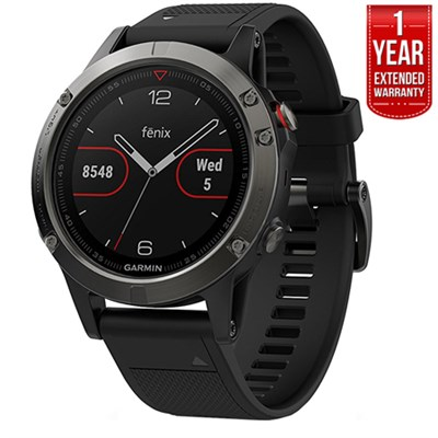 Fenix 5 Multisport GPS Watch Gray with Black Band + 1 Year Extended Warranty