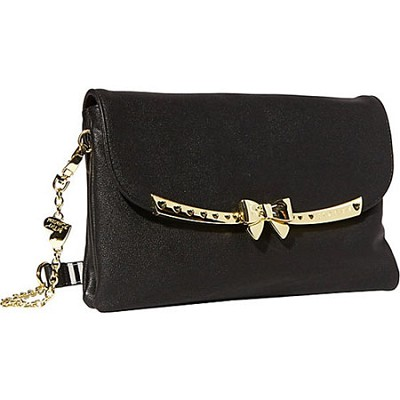 Serenity Shoulder Bag - Black with Gold Chain Bow and Details