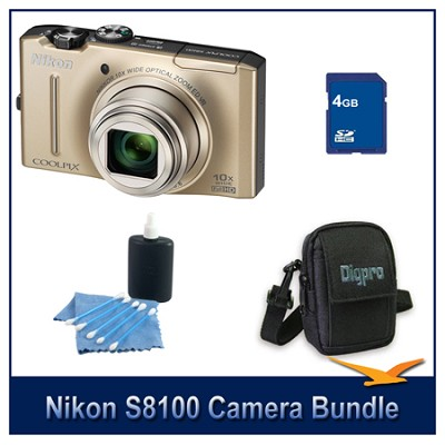 COOLPIX S8100 Gold Digital Camera 4GB Bundle w/ Case and Cleaning Kit