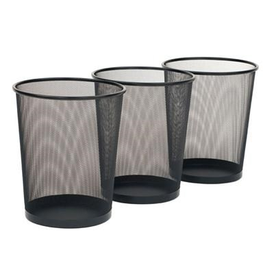 Mesh Wastebasket Black 3pk