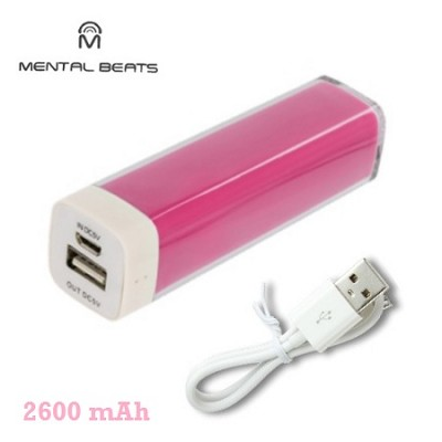 2600mAh Battery Bank Charger with Micro-USB Charging Cable - Pink