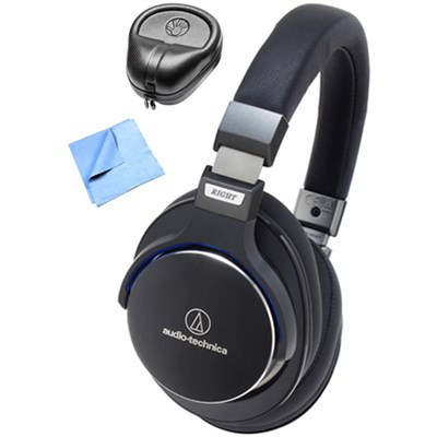SR7 SonicPro Over-Ear High-Res Headphones w/ Slappa Case & Cleaning Cloth, Black