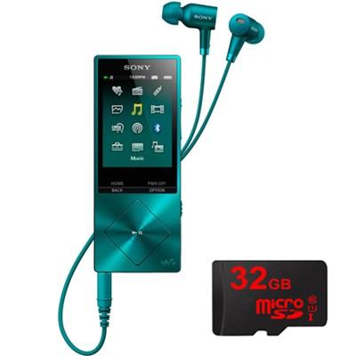 32GB Hi-Res Walkman Digital Music Player - Blue w/ 32GB Memory Card