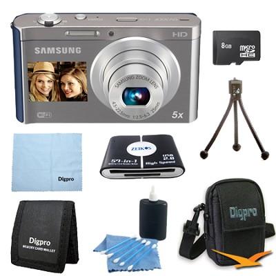 8 GB Bundle DV300F 16 MP 5X Wi-Fi Digital Camera - Silver/Blue