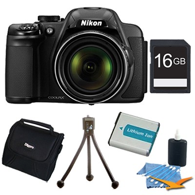COOLPIX P530 16.1 MP 42x Zoom Digital Camera - Black Plus 16GB Memory Kit