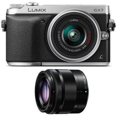 LUMIX DMC-GX7 Interchangeable Lens (DSLM) Silver Camera Two Lens Bundle