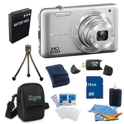16 GB Kit VG-160 14MP 5x Opt Zoom Silver Digital Camera - Silver