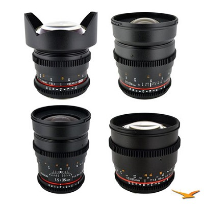 Nikon 4 Cine Lens Kit (14mm T3.1, 24mm T1.5, 35mm T1.5, 85 mm T1.5)
