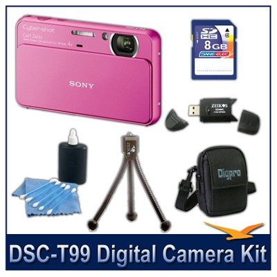 DSC-T99 14MP Pink Touchscreen Digital Camera with 8GB Card, Case, and more