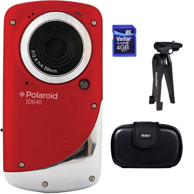 ID640 HD Waterproof Pocket Video Camcorder - Red Accessory Kit