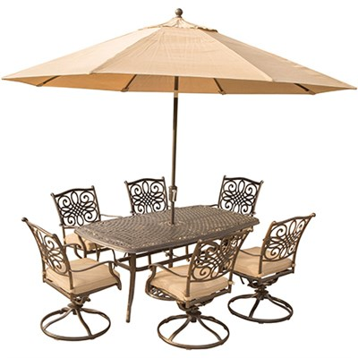 Traditions 7PC Dining Set: 6 swivel chrs38 x72  Cast Tbl Umb Stand