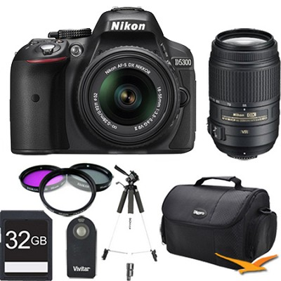D5300 DX-Format Digital SLR Kit (Black) w 18-55mm & 55-300mm VR Lens 32GB Bundle