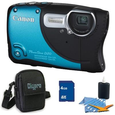 PowerShot D20 Waterproof Shockproof Blue Camera 4GB Bundle