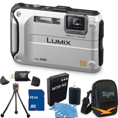 Lumix DMC-TS3 Silver Shockproof Freezeproof Dustproof Camera 16GB Bundle
