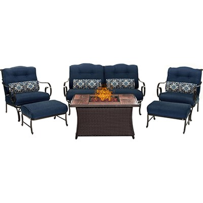 Oceana 6-Piece Woven Fire Pit Set with Wood Grain Tile Top - OCE6PCFP-NVY-WG