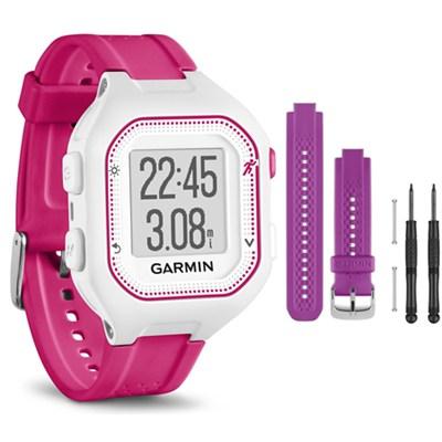 Forerunner 25 GPS Fitness Watch - Small - White/Pink - Purple Band Bundle
