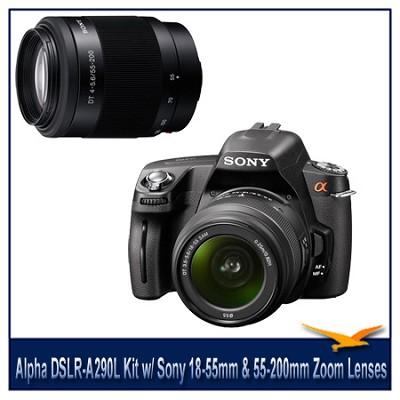 Alpha DSLR-A290L 14.2 MP DSLR Kit w/ Sony 18-55mm & 55-200mm Zoom Lenses