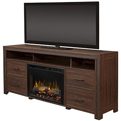 Thom Electric Fireplace & Media Console - Logs, Grainery Brown