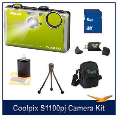 COOLPIX S1100pj Green Digital Camera Kit w/ 8 GB Memory, Reader, Tripod, & More