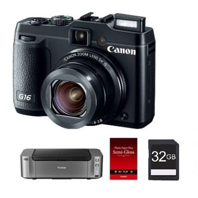 PowerShot G16 Digital Camera + Pro 100 Printer / 50-Pack Paper & 32GB Card