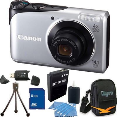 PowerShot A2200 14MP Silver Digital Camera 8GB Bundle