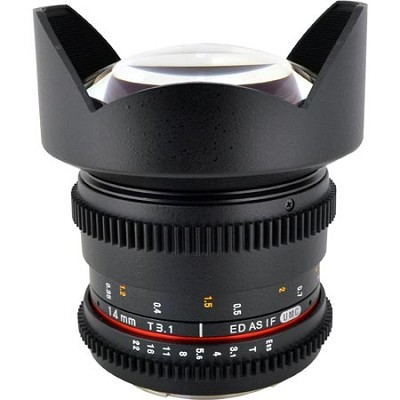 14mm T3.1 Aspherical Wide Angle Cine Lens, De-clicked Aperture - Canon EF Mount