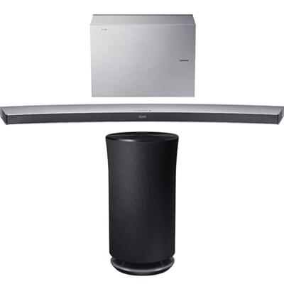 4.1 Channel Curved Wireless Soundbar White w/ Radiant 360 R3 Bluetooth Speaker