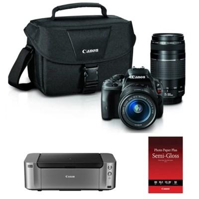 EOS Rebel SL1 18MP D-SLR with 18-55 STM + 75-300 Lenses + Pro 100 Printer/Paper