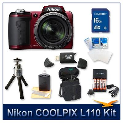 COOLPIX L110 Digital Camera (Red) Kit w/ 16GB Card