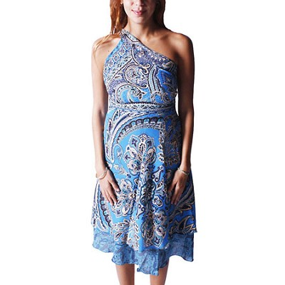 100 Way Wrap Skirt Dress, Paradise Paisley - Blue (One Size)
