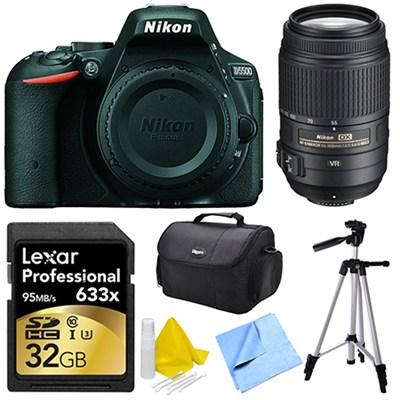 D5500 Black Digital SLR Camera, 55-300 Lens, 32GB, and Cleaner Bundle