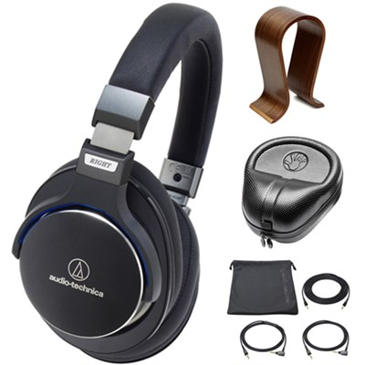 SonicPro Over-Ear High-Res. Headphones Black w/ Stand Bundle