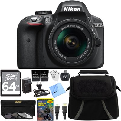 D3300 DSLR 24.2 MP HD 1080p Black Camera with 18-55mm Lens Bundle